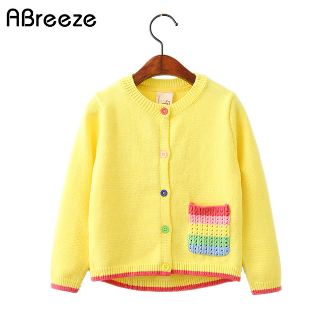 2230bd83c Spring girls clothing coats 2018 new Yellow sweater cardigan with ...