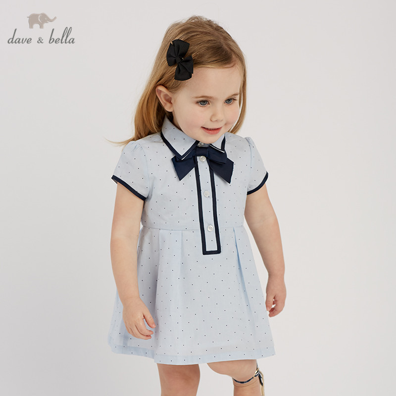 DBA9427 dave bella summer baby girl s princess cute dress fashion bow blue dots children party