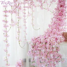 FENGRISE 200cm Silk Sakura Cherry Rattan Ivy Wall Wedding Arch Decoration Artificial Flower For Home Party Decor Garland decorat