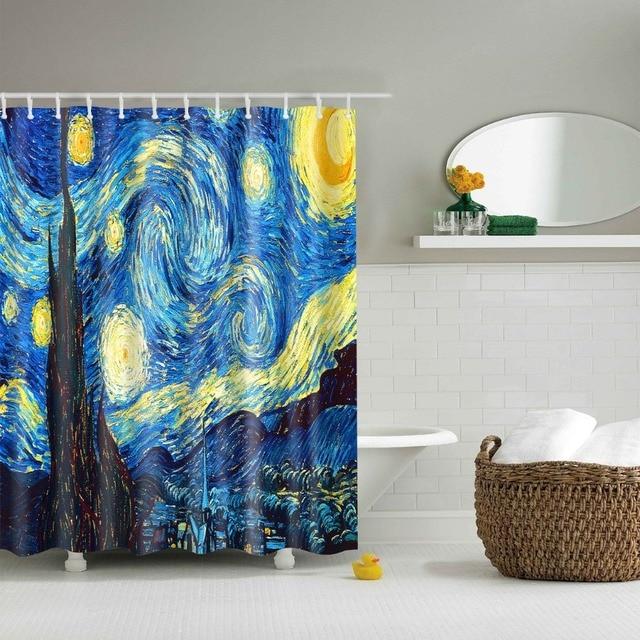 LFH 180X180CM Starry Night Fabric Shower Curtain Fishing Nets Beach Ocean Decor Waterproof Mildew Bathroom