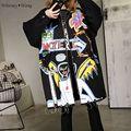 WHITNEY WANG Primavera Otoño Moda Streetwear Hip-Hop Metal Pintado anillo Mujeres Gabardina cazadora de Gran Tamaño Más Tamaño