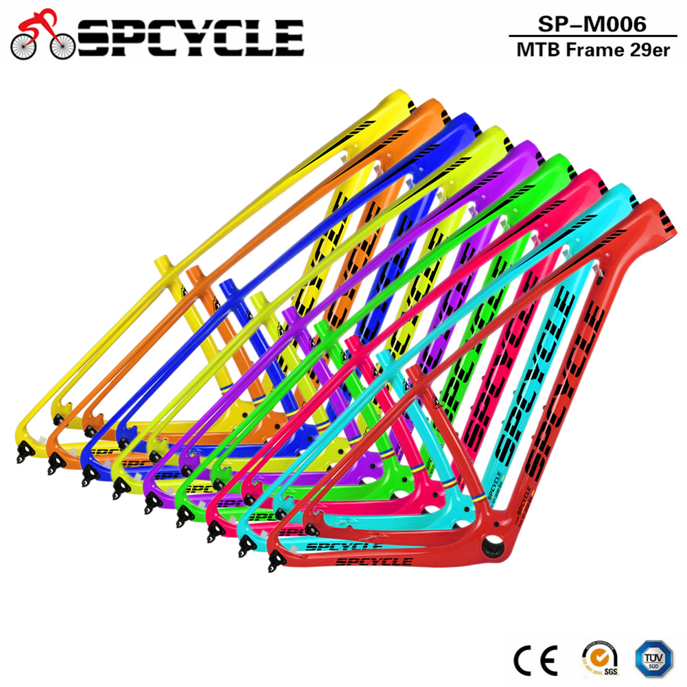 Spcycle T1000 Full Carbon Mountain Bikes Frame 29er Carbon MTB Bicycle Frame Compatible 135*9 QR And 142*12 Thru Axle 8 Colors