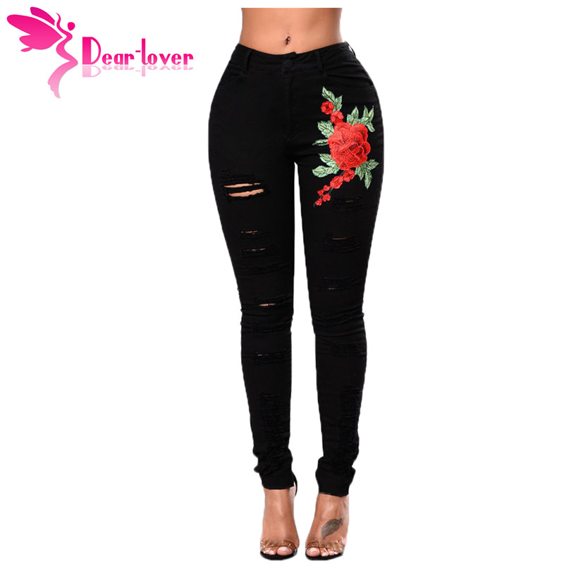 Dear Lover Denim Pants Women Trousers Red Rose Embroidery
