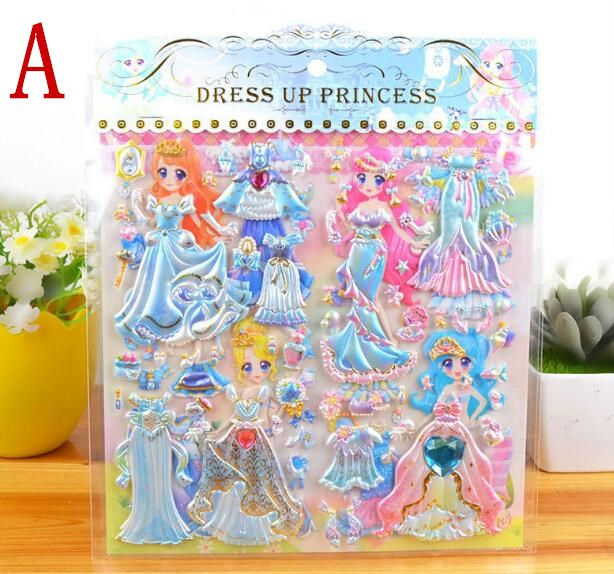 Eight Kinds Double-deck Large Size PVC Material High Quality Waterproof Stickers DIY Girl Changing Clothes 3D Bubble Stickers