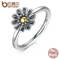 BAMOER Authentic 925 Sterling Silver Flower Finger Ring Ancient Silver Black Rings For Women 3 Size