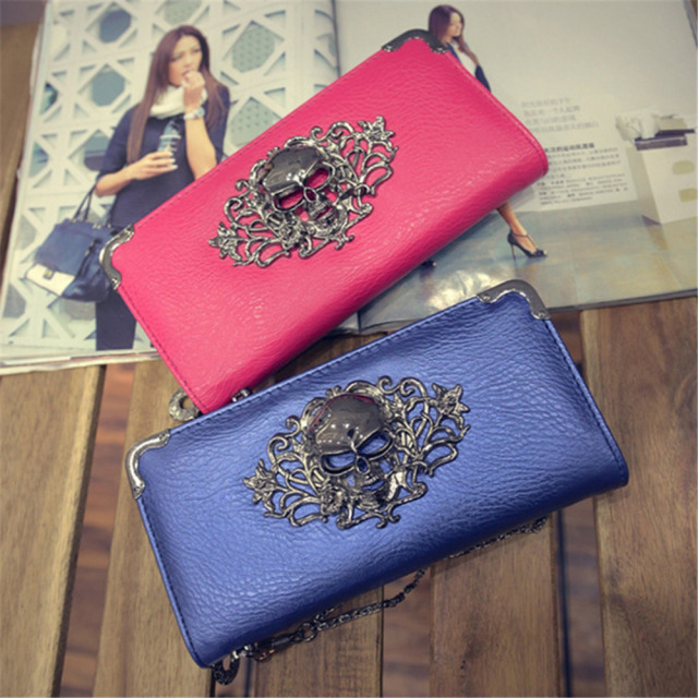 Metal Skull Pattern PU Leather Wallet