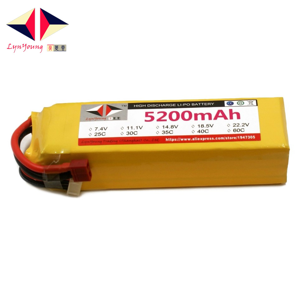 LYNYOUNG 5S rc Lipo Battery 18.5V 5200mAh 25C For Helicopter Quadcopter Drone Airplane Car parts lipo battery 7 4v 2700mah 10c 5pcs batteies with cable for charger hubsan h501s h501c x4 rc quadcopter airplane drone spare