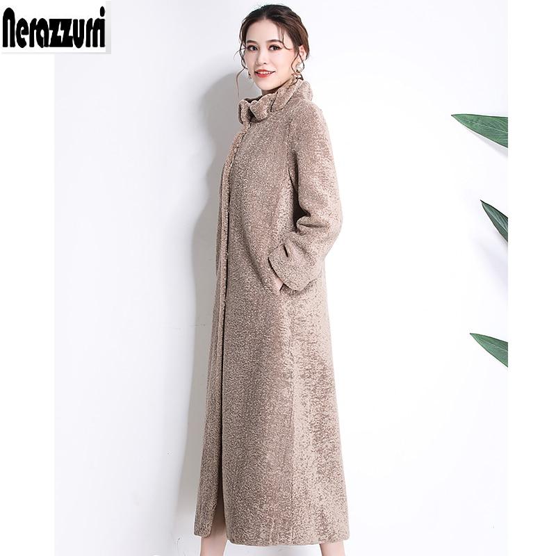 Nerazzurri Winter faux fur coat women 2019 new fashion casual warm extra long fake lamb fur overcoat plus size outwear 5xl 6xl