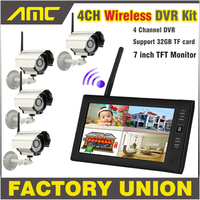NEW 7 Inch Monitor Wireless CCTV Kit 2 4GHz 4CH Channel CCTV DVR 4PCS Wireless Cameras