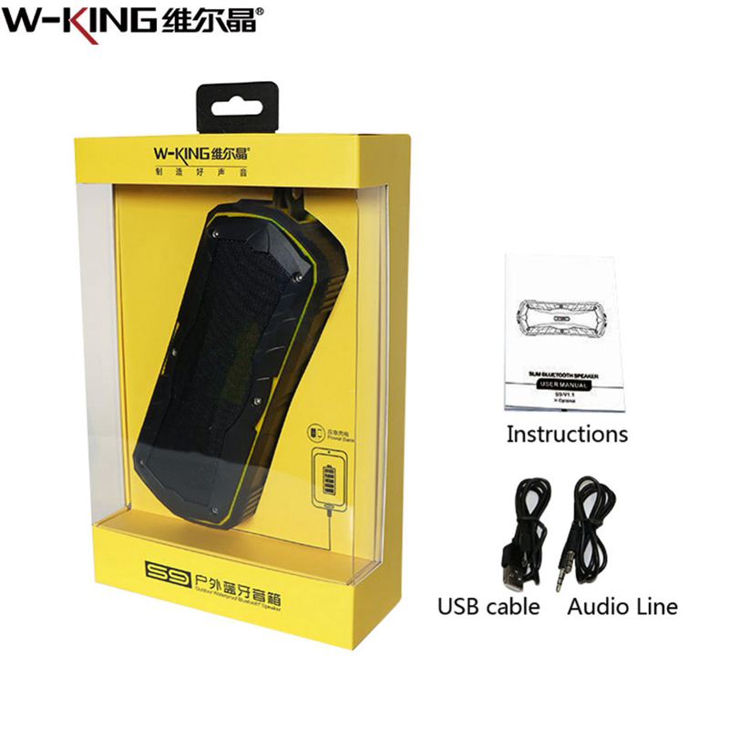 W-king S9 Portable Wireless Bluetooth Speaker Water-resistant Speaker 4000mAh Power Bank For Phone Music Waterproof Subwoofer