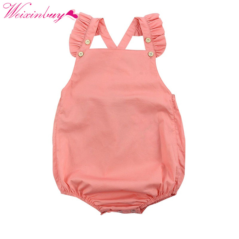 Newborn Baby Girl Romper 4 Button Clothes Summer Ruffled Sleeve Solid Romper Toddler Kids Jumpsuit Outfits 2017 summer toddler kids girls striped baby romper off shoulder flare sleeve cotton clothes jumpsuit outfits sunsuit 0 4t