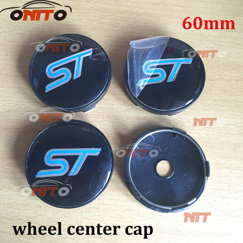 100pcs 56mm / 60mm Car Wheel Hub Center Cover Caps Emblem Logo Badge Blue Red ST For Ford Focus 2 3 Fiesta Fusion Mondeo Escap