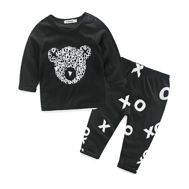 2016 new style baby boy clothes long sleeve cool baby cartoon clouds long-sleeved T-shirt+pants set newborn clothes baby costume