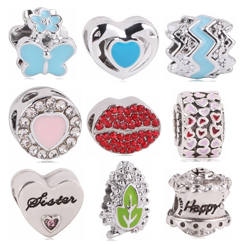 Couqcy Leaves Love Lips Cake Flower Pendant With Blue Silver Beads Charms Fit Pandora Bracelets & Bangles Necklace Jewelry