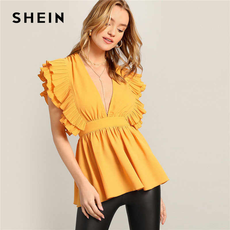 dcb7de8d5f SHEIN Lady Yellow Sexy Pleated Ruffle Embellished Plunging V Neck Blouse  Summer Sleeveless Glamorous Peplum Womens