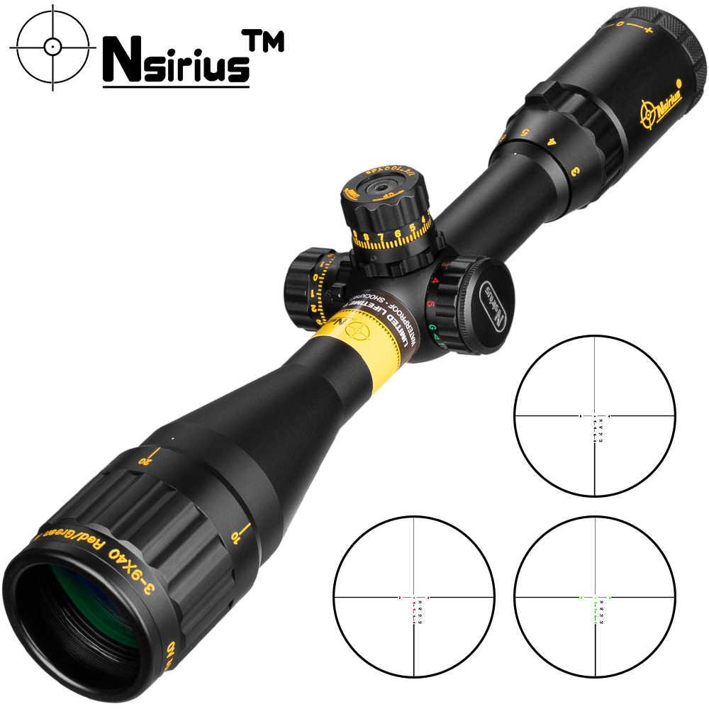 Mira telescópica NSIRIUS Gold 3-9X40 AOE Tactical, Mira de Rifle de caza con lente roja y verde, mira de Rifle de caza