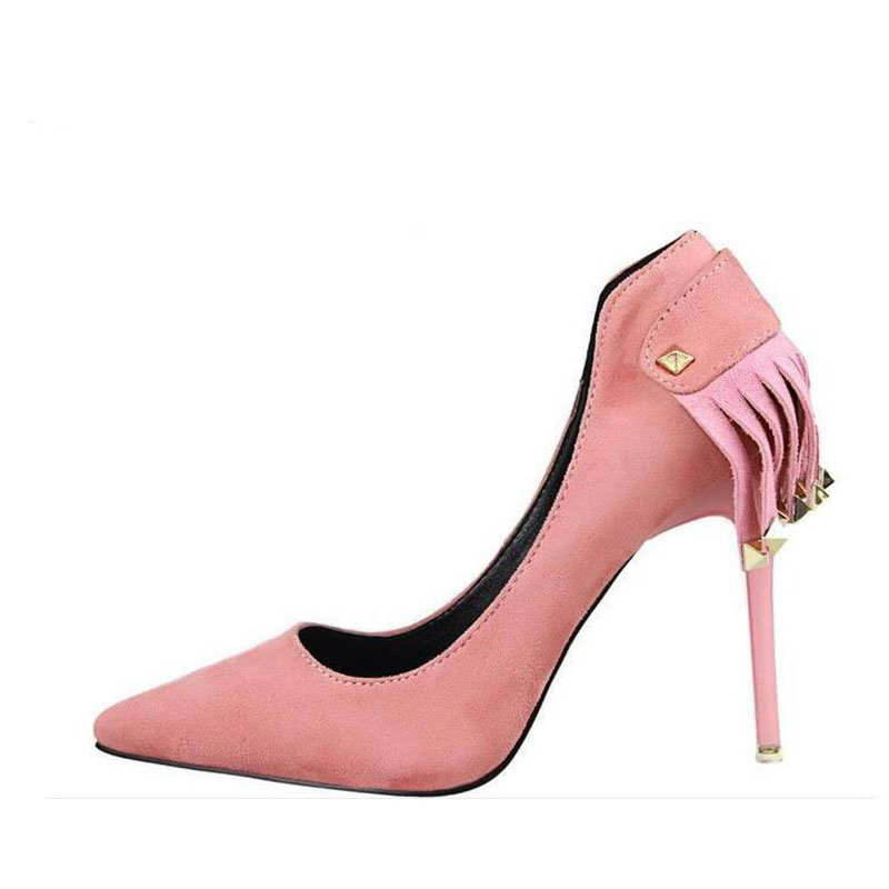 все цены на Sexy fine gift bride with wedding shoe suede pointed tassel rivets high heels for women's shoes fashion red bottom shoes онлайн