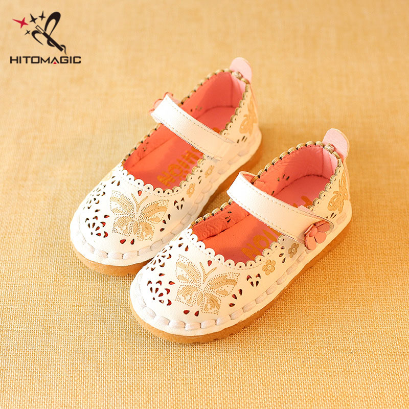 HITOMAGIC Leather Children Footwear Shoe Girl Children's Shoes For Girls Toddler Girl Shoes Hollow Floral Butterfly Princess