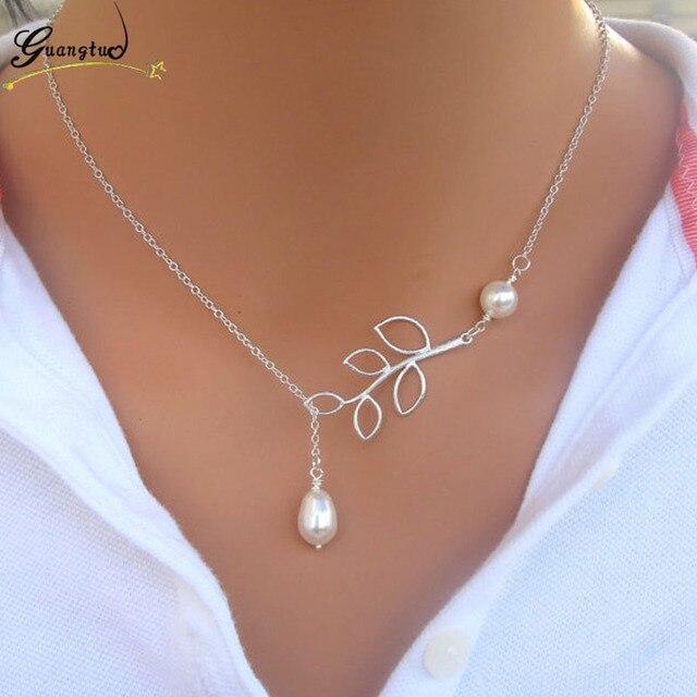 Delicate Bird & Leaf Shape Pendant Necklace