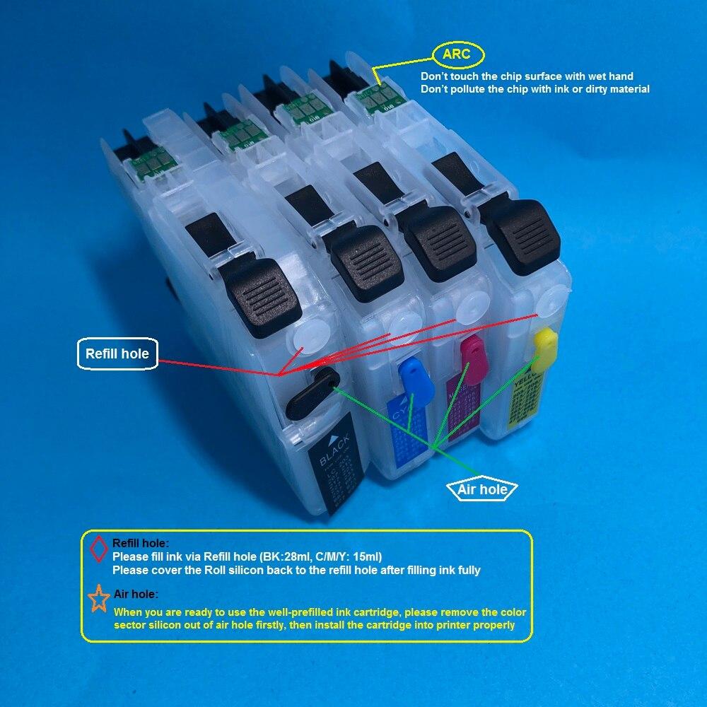 YOTAT 4 шт. многоразовый чернильный картридж LC223 для Brother DCP-4120DW, MFC-J4420DW, MFC-J4620DW, MFC-J4625DW, MFC-J480DW