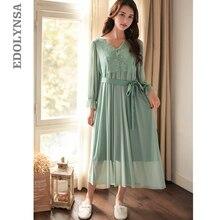 421165cf37 2019 Green Victorian Sleepwear Women Night Wear Robe Gown Set Flare Sleeve  Belt Long Kimono Sexy