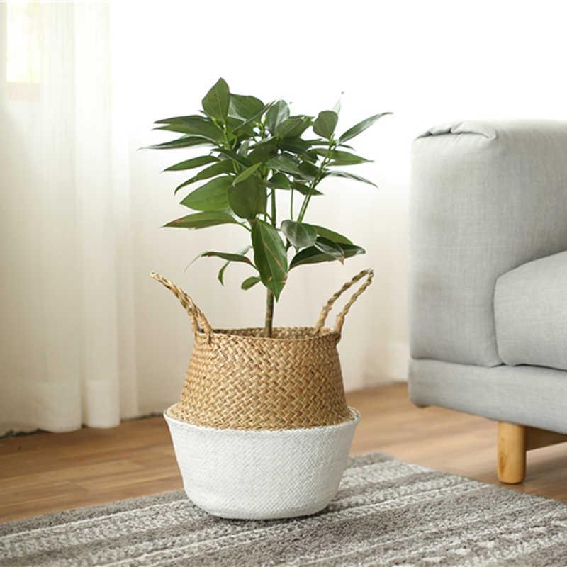 WHISM Seagrass Planta Vaso de Flores Vaso Dobrável Cesta De Armazenamento De Palha Cesta De Vime Casa Plantador Do Jardim Planta Flor Cesta