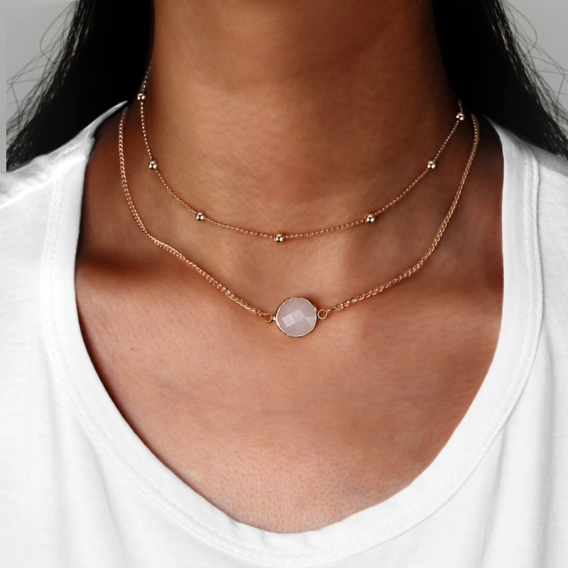 NAPOLN Gold Chain Necklace Women Vintage Choker Necklaces Pendants 2 Layer Necklace Acrylic Jewellery Colgantes Mujer Moda