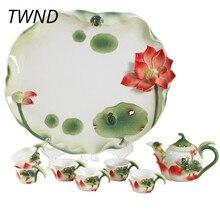 Эмалированный чайник чашки чайный набор с подносом Кунг фу чайник кружки gaiwan костяного фарфора творческий посуда для напитков