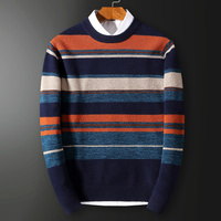 Winter pure wool sweater men's round neck striped fashion sweater korean version of casual young men's sweater tide
