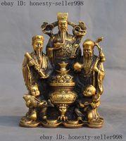 China Pure Brass Wealth 3 Longevity God Fu Lu Shou boy girl treasure bowl Statue