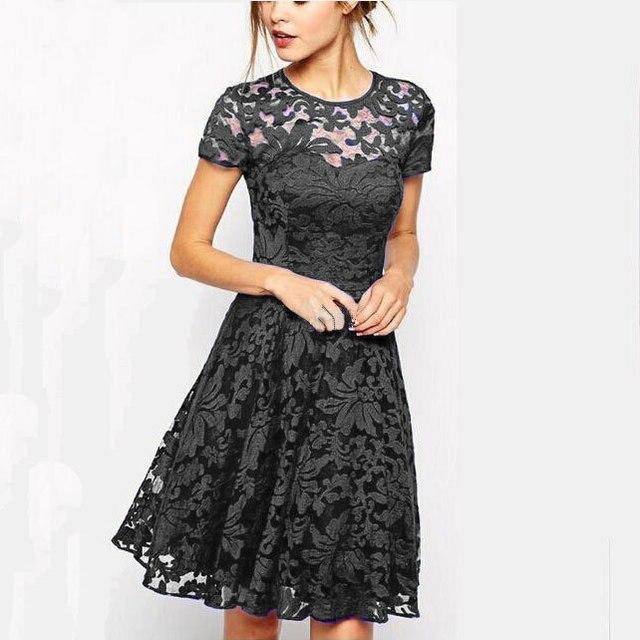 Fashion Women Elegant Sweet Hallow Out Lace Dress Sexy Party Princess Slim 1