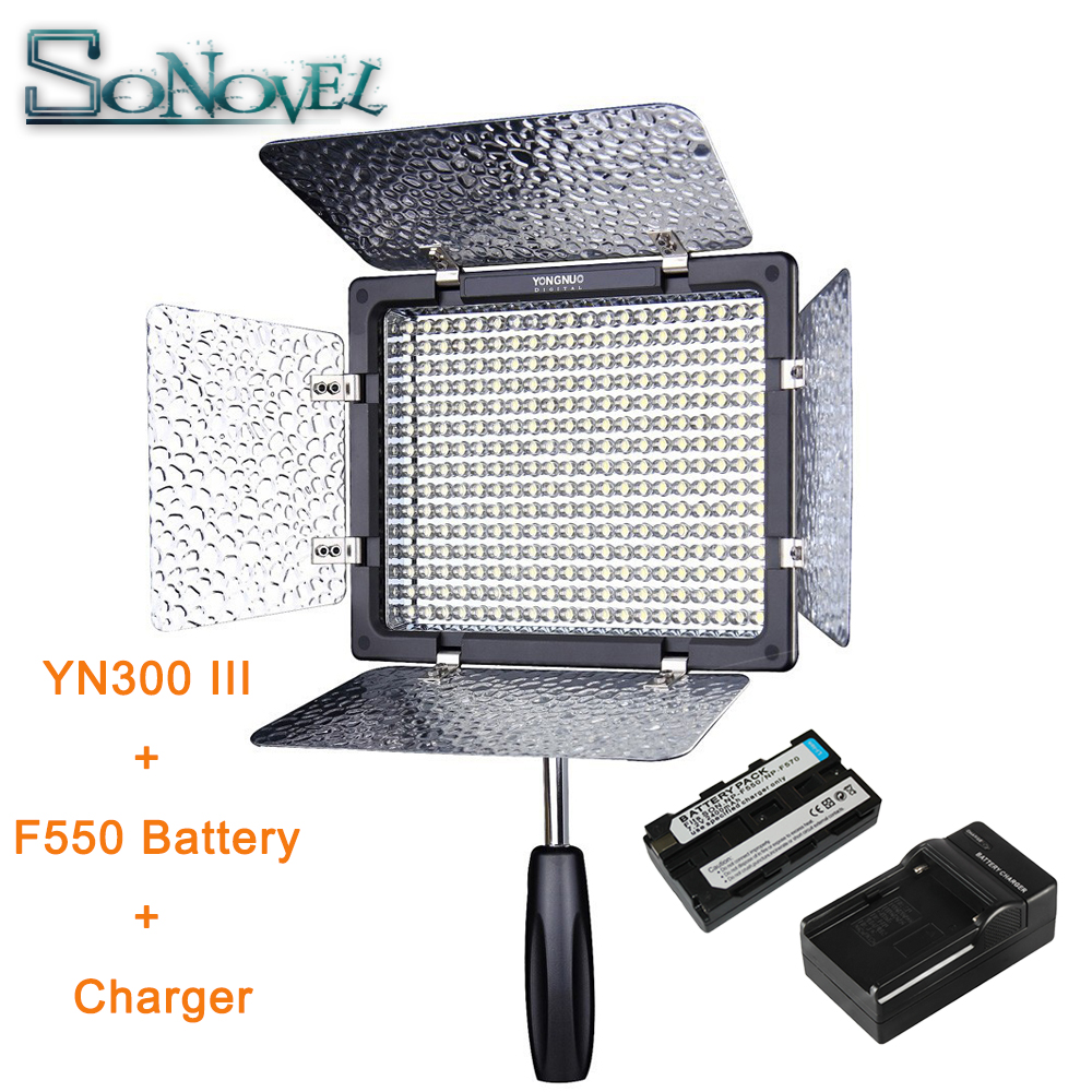YongNuo YN300 III YN-300 lIl 3200K-5500K Pro LED Video Light NP-F550 Battery & Charger for Sony Canon Nikon Camera DC Camcorder yongnuo yn300 air 3200k 5500k yn 300 air pro led camera video light with np f550 battery and charger for canon nikon