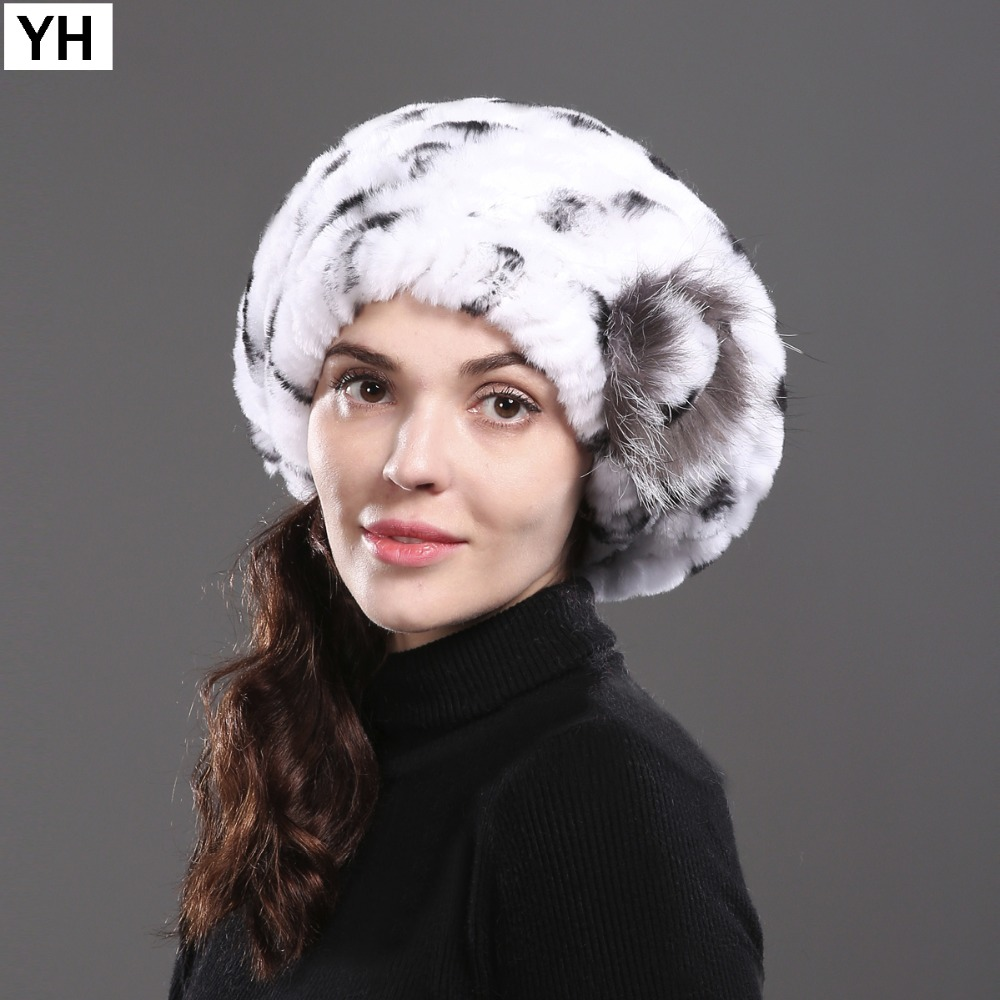 2018 Women Casual Natural Rex Rabbit Fur Hat Winter Rex Rabbit Fur Beanies  Hats Knitted Real Rex Rabbit Fur Cap Wholesale Retail e017d099d00