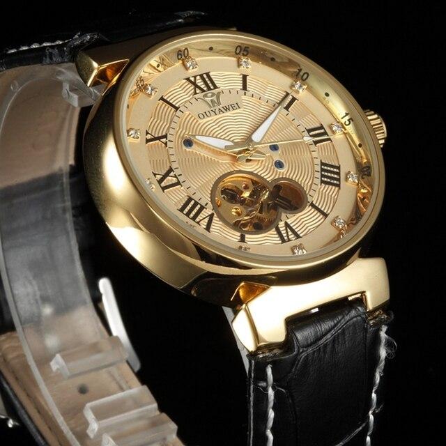 ساعة يد رجالي أوياوي أوتوماتيك ذهبية اللون ميكانيكية من الجلد بعلامات تجارية فاخرة ساعات يد رجالية ساعة يد Montre Homme هدايا