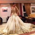 V-Neck Long Train Regular Sleeves Formal Party Dress Long Sleeves Vestidos 2016 Luxury Tulle Gold Sequins Evening Dress 2589