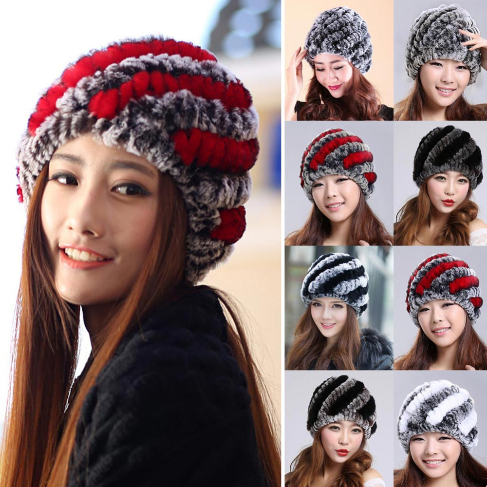 Fashion 2016 Russian Women Thick Warm Hat Stripe Knitted Fur Cap Natural Rex Rabbit Fur Hats Women Beanies Skullies Headgear Y1 skullies beanies the new russian leather thick warm casual fashion female grass hat 93022