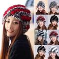 Fashion 2016 Russian Women Thick Warm Hat Stripe Knitted Fur Cap Natural Rex Rabbit Fur Hats Women Beanies Skullies Headgear Y1