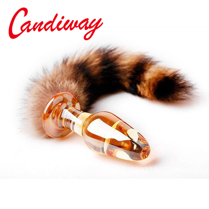 night Life <font><b>sex</b></font> toy Fox tail anal plug adult Anal Sexy lover game for woman Men <font><b>Dog</b></font> Tail <font><b>sex</b></font> products Glass anal plug CAT TAILS image