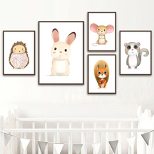 Cartoon Rabbit Squirrel Raccoon Mouse Hedgehog Wall Art Canvas Painting Nordic Posters And Prints Pictures Kids Room Decor