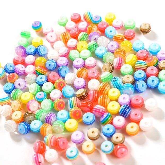 100pcs DIY Striped Round Resin Beads 2
