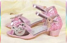 2018 Girls Fashion Anak-anak Putri Sandal Sepatu Anak Perempuan High Heels Sepatu Kulit Gaya Korea 4 ~ 12 tahun