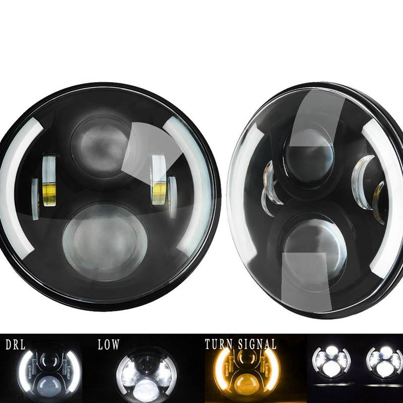 все цены на 2pcs black 7 Inch Round H/Low lm LED Headlight For Lada 4x4 urban Niva For Jeep Wngler Hummer Land rover defender