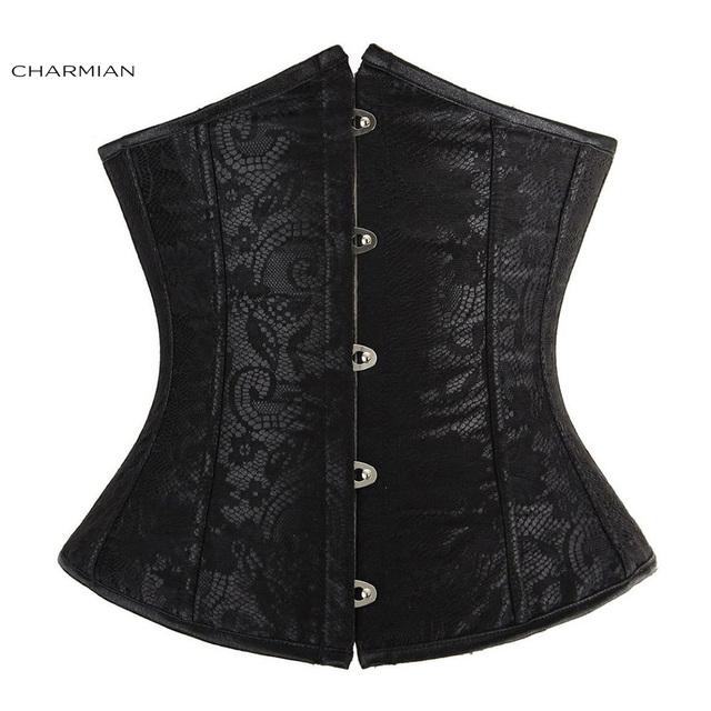 Charmian sexy lace overlay satin corset negro rojo de las mujeres entrenador cintura cincher corsés y bustiers fajas