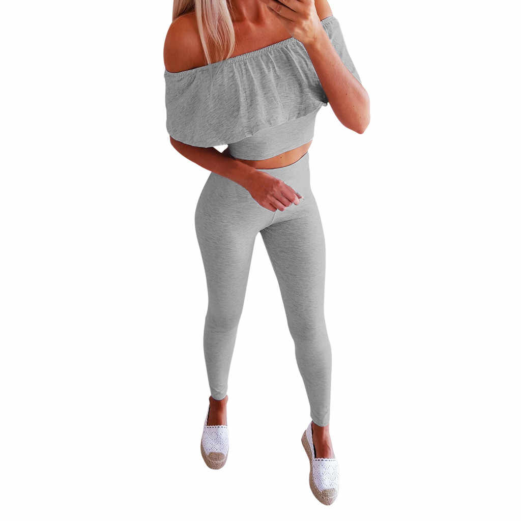 女性のセクシーな肩を出しカラーパンツ 2 ピースセット女性カジュアル二枚セット女性 2 ピースセット #515