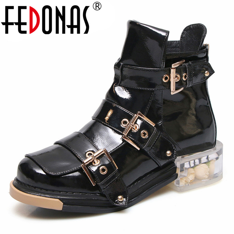 FEDONAS Punk Women Ankle Boots Thick Heels Autumn Winter Buckles Party Shoes Woman Short Motorcycle Boots New Female Shoes Woman e27 all brass single head hanging light 100% pure copper material pendant lamp with white glass shade led bulb lighting fixture