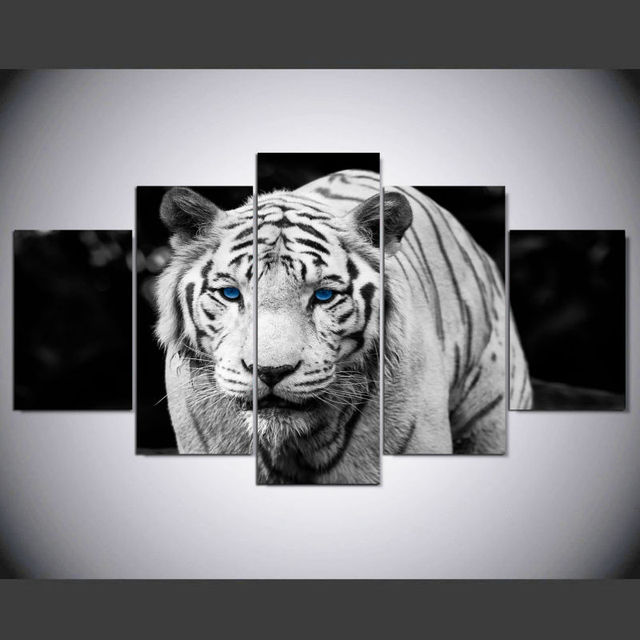 Aliexpress.com : Buy 5 Pieces Black and White Tiger Canvas Wall Art ...