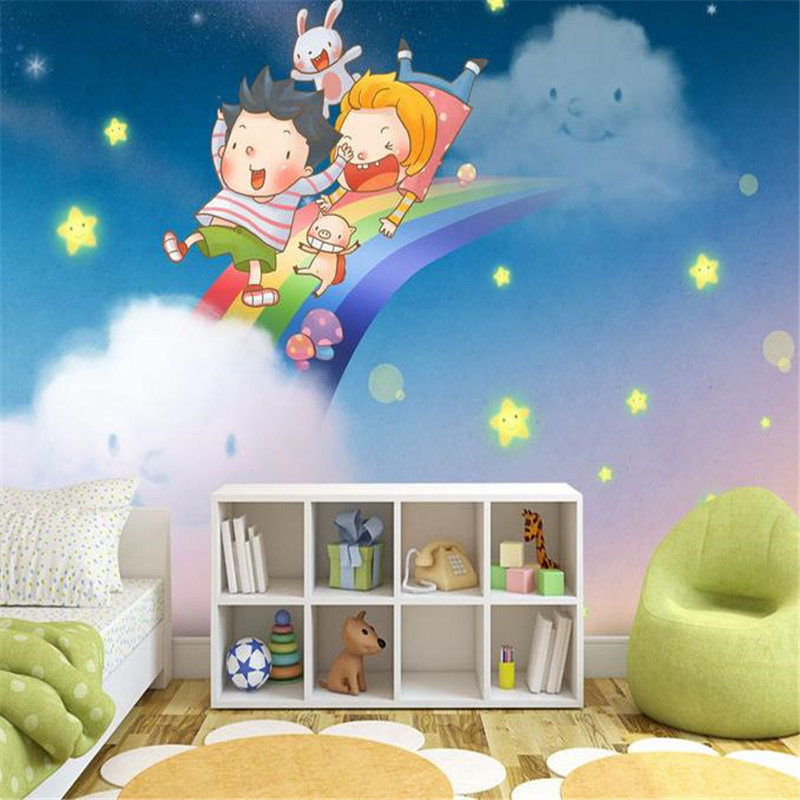 3D Custom Wall Mural Cartoon Pattern Wall Papers for Kids Starry Sky Rainbow Wallpapers for Living Room Children Room Home Decor