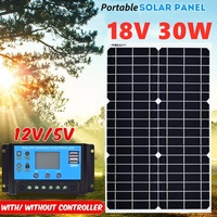 30W 18V Flexible Mono Solar Panel With 10A PWM Controller For 12V Battery Charger portable solar charger usb 5v solar panel