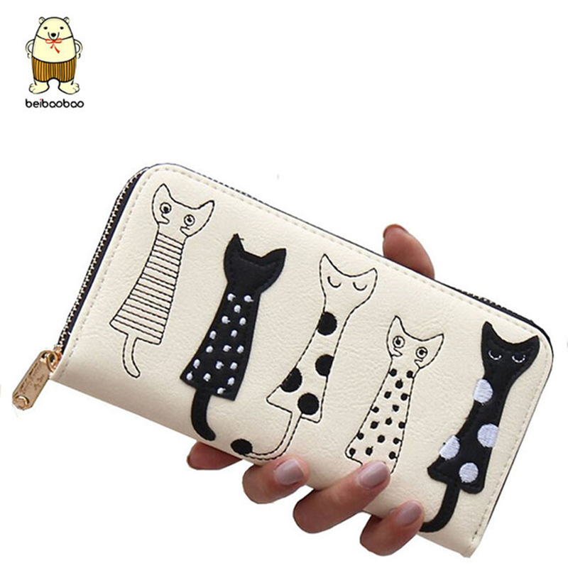 Beibaobao New Women Wallets fashion style Dollar price Leather Wallet carton cat Day Clutch Purse card holder long female purse reiwalker women wallets brand design pu leather purse hasp fashion dollar price long wallets for female