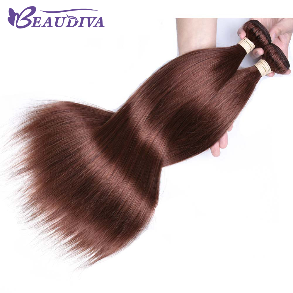 BeauDiva Pre-Colored Brazilian Hair Weave Bundles Straight Human Hair 1 Pcs Only #33 Silky Straight Remy Human Hair Extensions